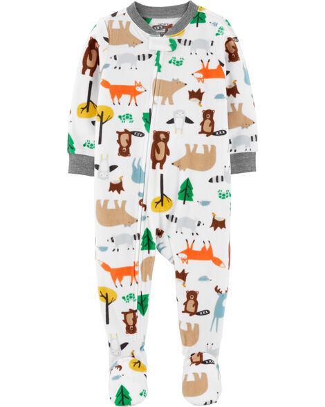 1-Piece Woodland Creatures Fleece Footie PJs