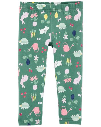 Floral Bunny Capri Leggings