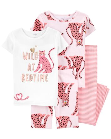 4-Piece Leopard 100% Snug Fit Cotto...