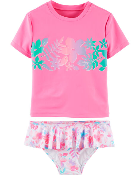 2-Piece Floral UV Swim Shirt Set