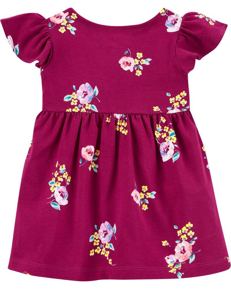 Floral Faux Wrap Dress, , hi-res