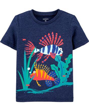 T-shirt en jersey chiné avec poisso...