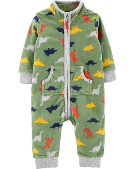 Dinosaur Zip-Up Fleece Jumpsuit