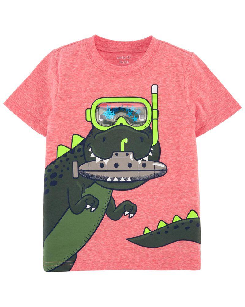 T-shirt en fil doux à dinosaure, , hi-res