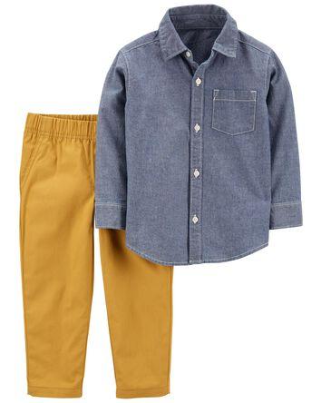 2-Piece Button-Front Shirt & Canvas...