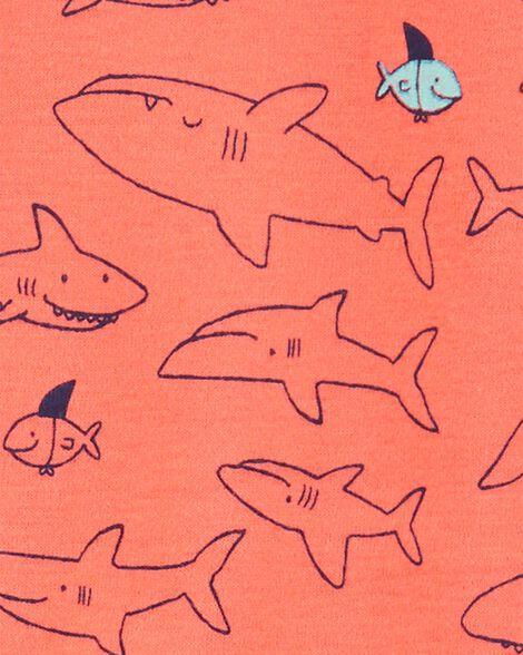 1-Piece Shark Snug Fit Cotton Footie PJs