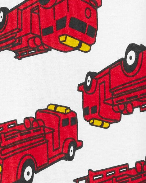 1-Piece Firetruck Snug Fit Cotton Footie PJs