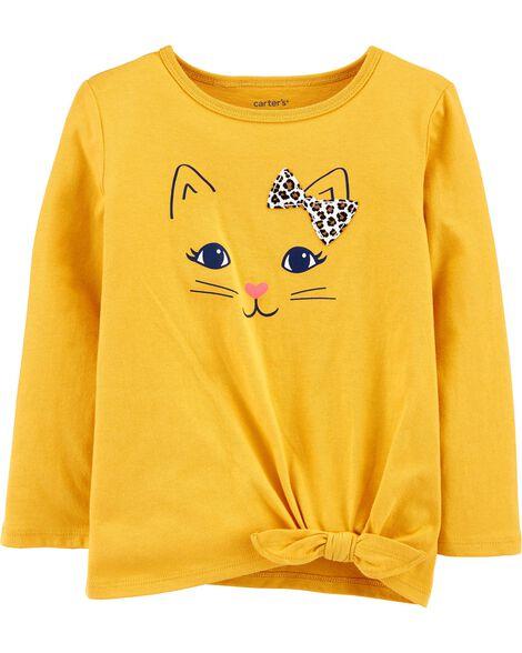 T-shirt en jersey à chat et nœud devant