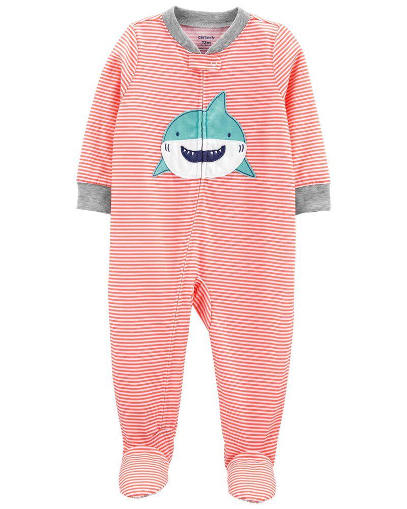Pyjama 1 pièce de coupe ample à pieds motif requin, , hi-res