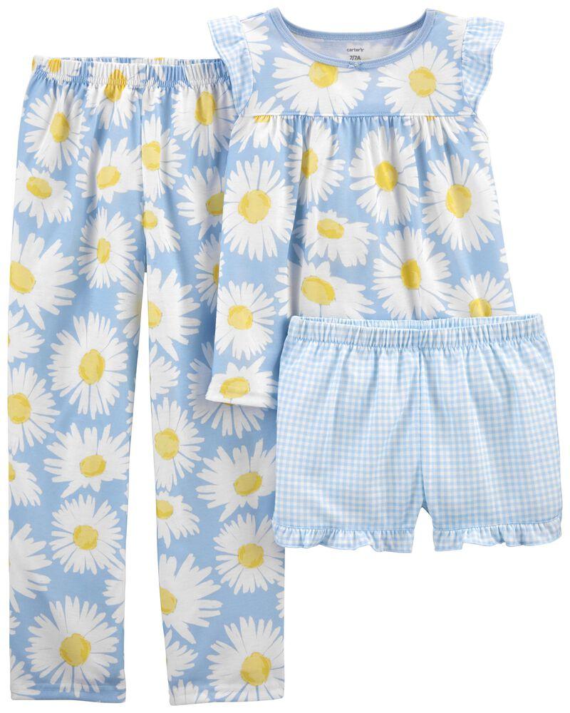 3-Piece Daisy Loose Fit PJs, , hi-res