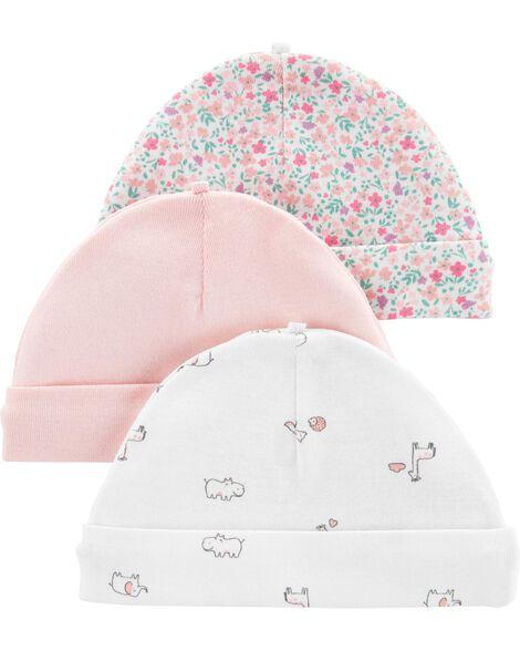 Emballage de 3 bonnets pour bébé