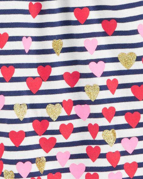 Robe à capuchon en jersey à motif de cœurs