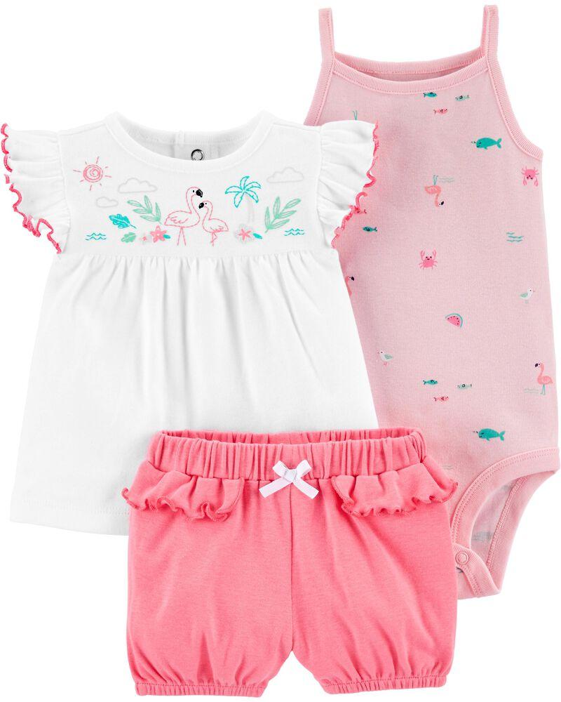 3-Piece Flamingo Little Short Set, , hi-res