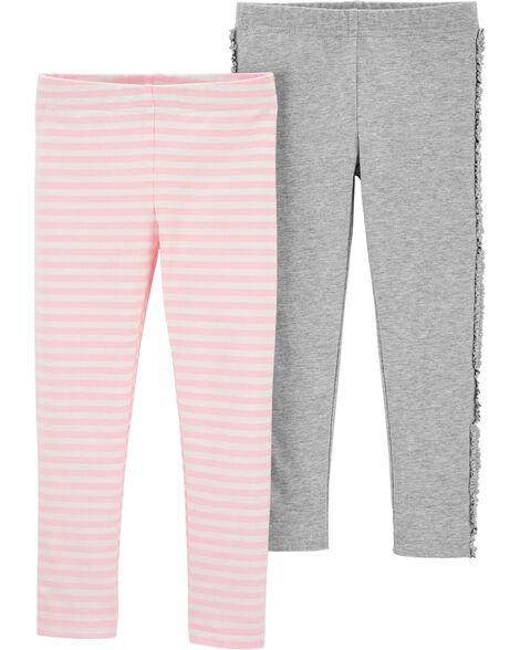 Emballage de 2 leggings à rayures et à volants