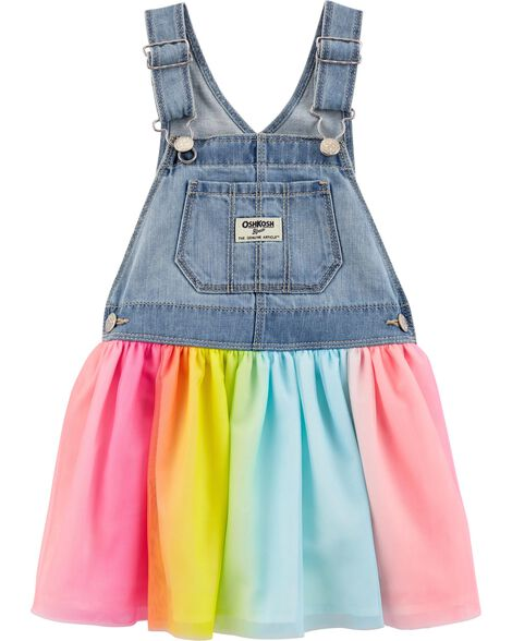 Robe chasuble en tulle arc-en-ciel
