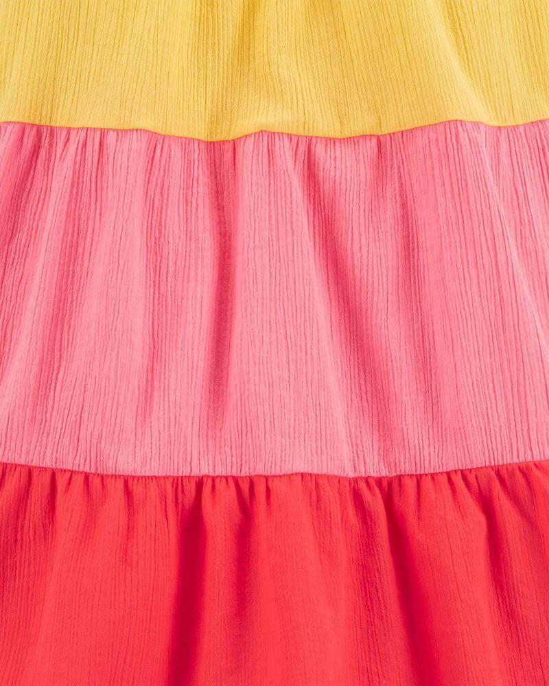 Robe bain-de-soleil à volant en tissu crêpe, , hi-res