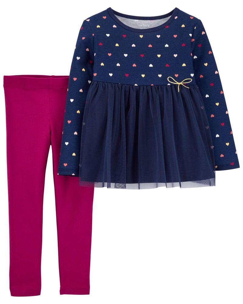 2-Piece Heart Tulle Jersey Top & Legging Set, , hi-res