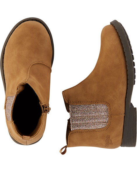 Brown Glitter Ankle Boots