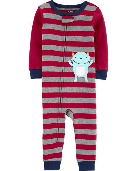 Pyjama 1 pièce sans pieds en coton ajusté à motif de monstre