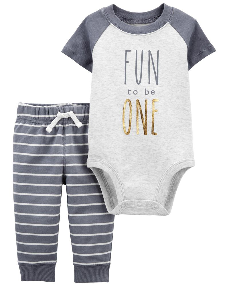 2-Piece 1st Birthday Bodysuit Pant Set, , hi-res