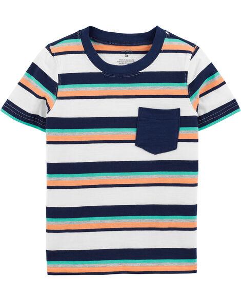 T-shirt en jersey rayé avec poche