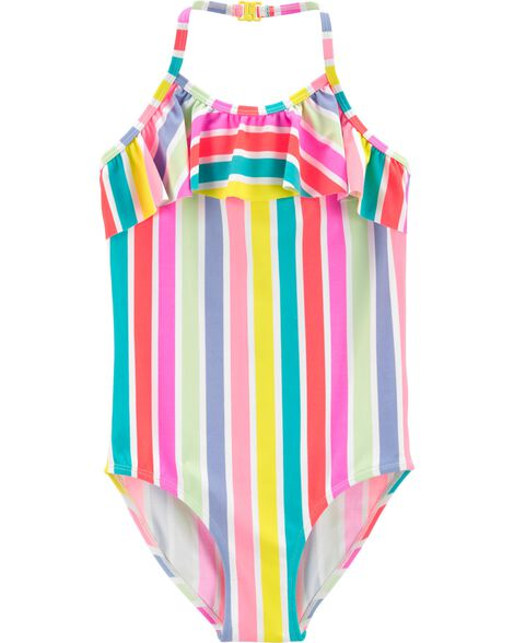 Rainbow Stripe One Piece Swimsuit