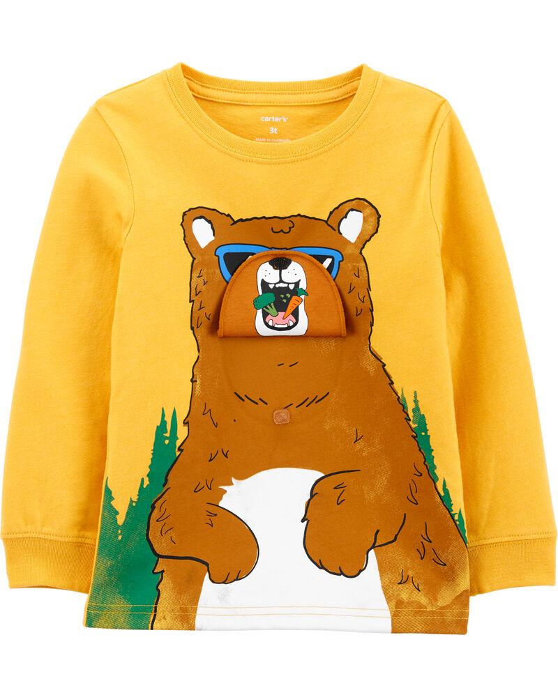 T-shirt chiné dévoilant un ours, , hi-res