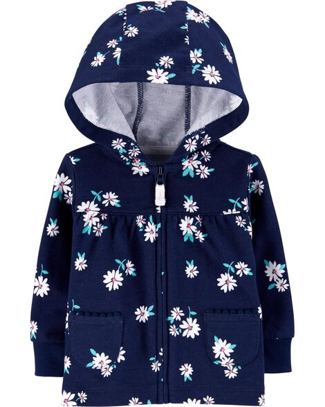 Floral Zip-Up French Terry Hoodie