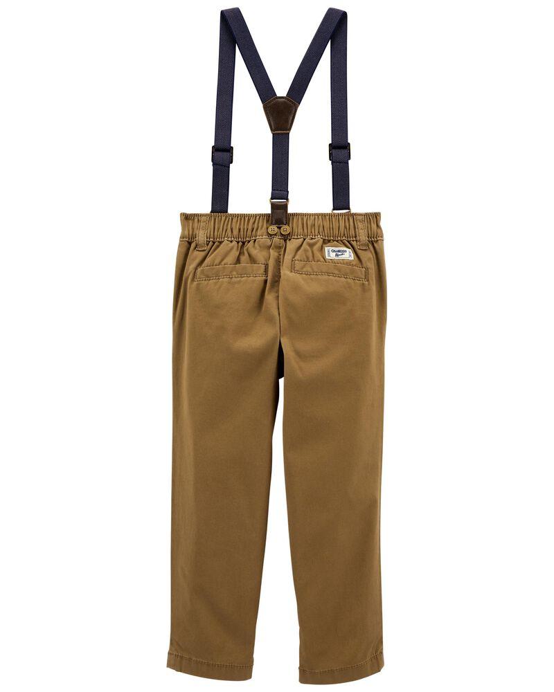 Pantalon en sergé extensible à bretelles, , hi-res