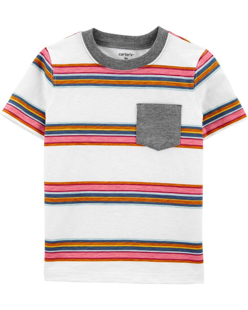 T-shirt en jersey rayé avec poche, , hi-res