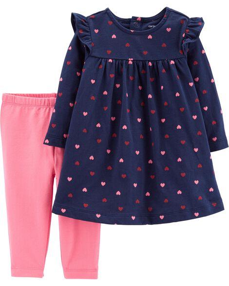2-Piece Heart Dress & Legging Set