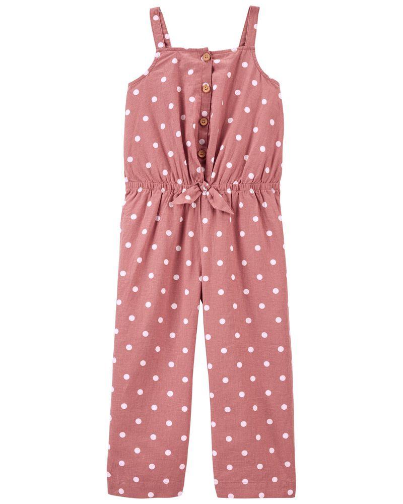 Polka Dot Wide Leg Crop Jumpsuit, , hi-res