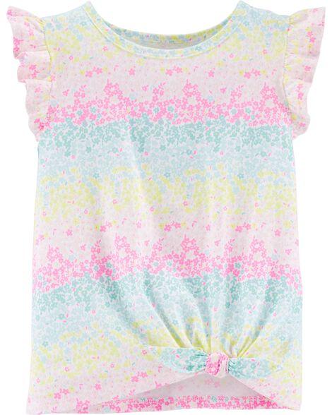 Rainbow Floral Tie-Front Jersey Tee