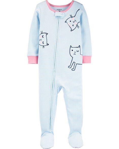 1-Piece Cats Snug Fit Cotton Footie PJs