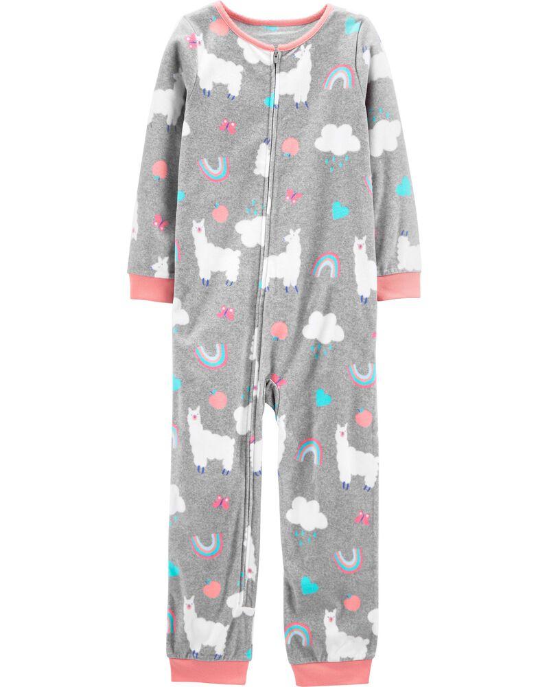 Pyjama 1 pièce sans pieds en molleton avec lama, , hi-res