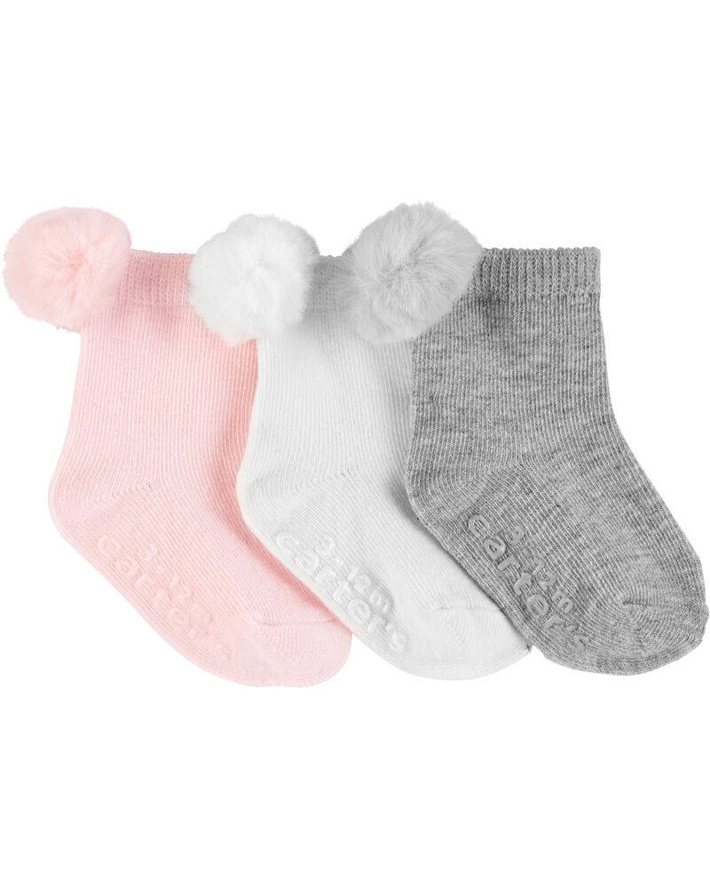 3-Pack Pom Pom Socks, , hi-res