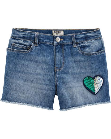Flip Sequin Patch Denim Shorts