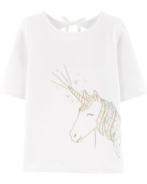 Glitter Unicorn Stretch Jersey Tee