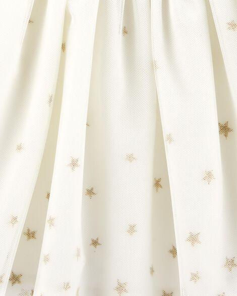 Robe chasuble en tulle scintillant ivoire