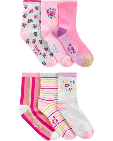 Emballage de 6 paires de chaussettes mi-mollet fleuries