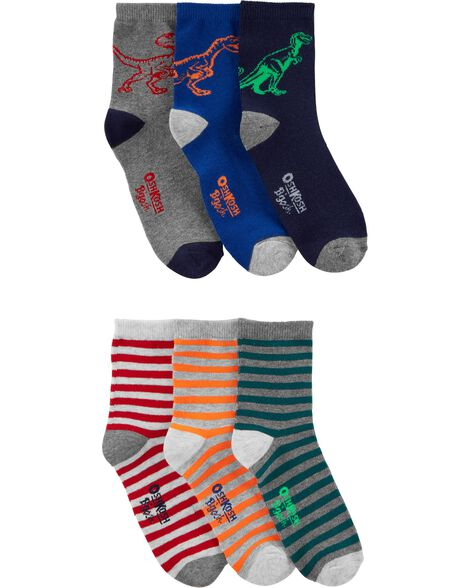 Emballage de 6 paires de chaussettes mi-mollet rayées à dinosaures
