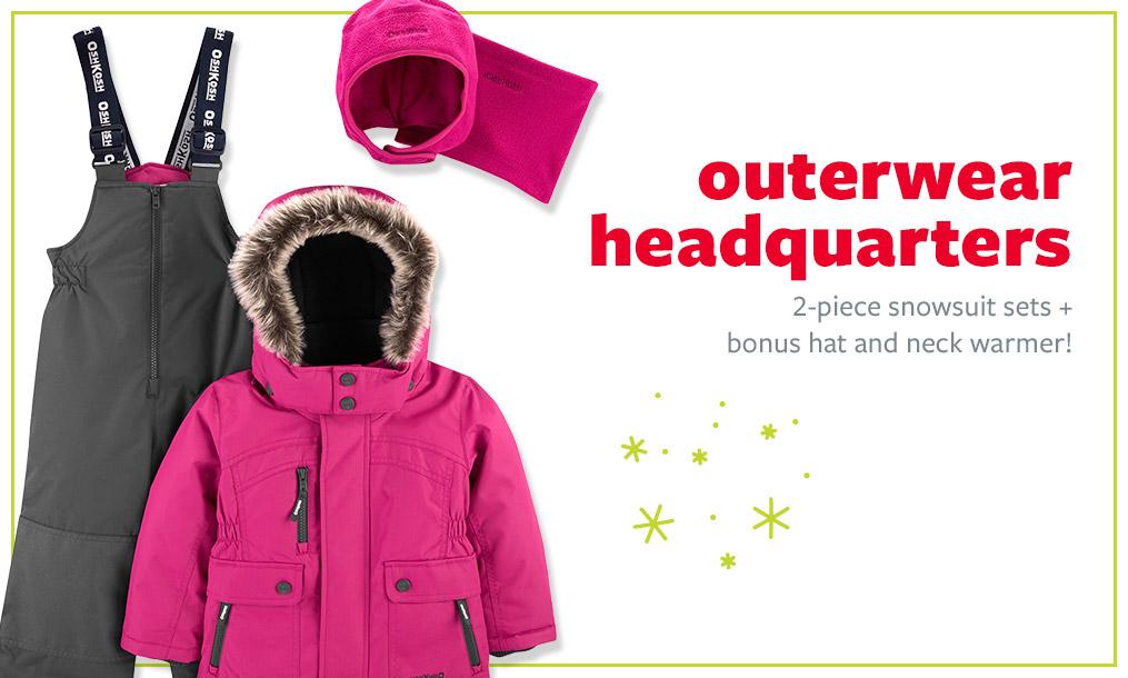 Outerwear headquarters | 2-piece snowsuits sets + bonus hat and neck warmer!