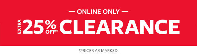 online only   extra 25% off clearance