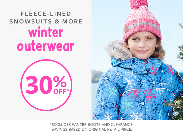 fleeced-lined snowsuits & more winter outerwear 30% off