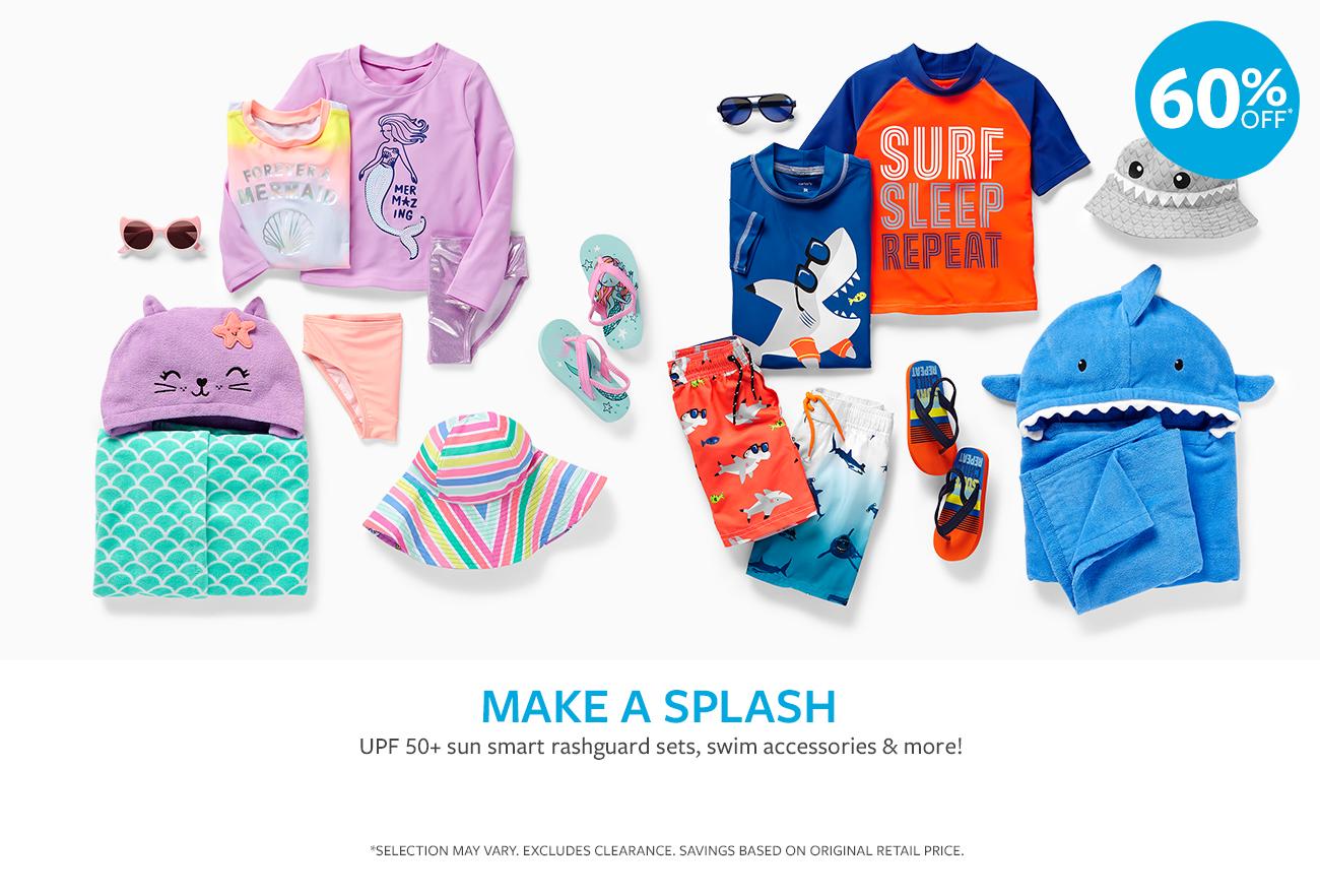 MAKE A SPLASH | UPF 50+ sun smart rashguard sets, swim accessories & more! | 60% OFF*
