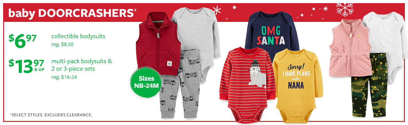baby Doorcrashers | $6.97 collectible bodysuits reg. $8.50 | $13.97 & up multi-pack bodysuits & 2 or 3-piece sets reg. n$16-24