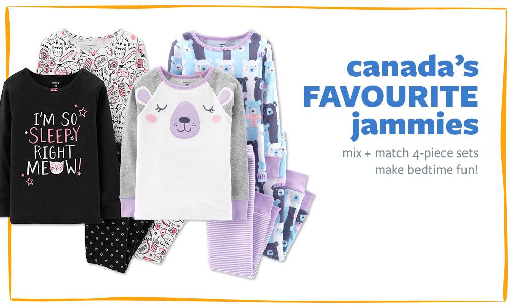 canada's FAVOURITE jammies | mix + match 4-piece sets make bedtime fun!