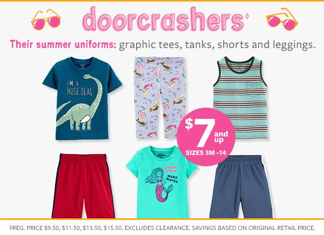doorcrashers $7 & up sizes 3m-14 | graphic tees, tanks, shorts and leggings