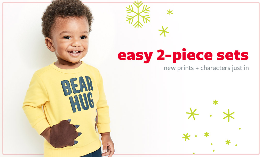 easy 2-piece sets   new prints + characters just in