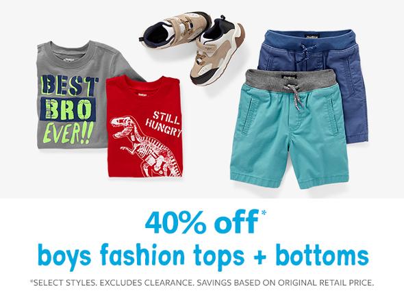 40% off boys fashion tops + bottoms
